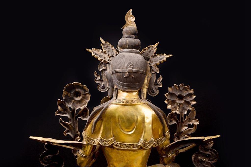 Rare Ming Imperial Gilt-Bronze Figure of Green Tara - 3