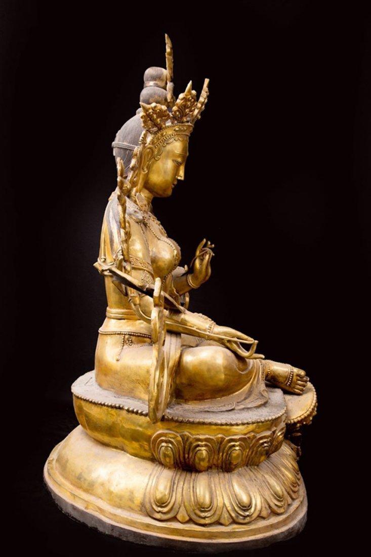 Rare Ming Imperial Gilt-Bronze Figure of Green Tara - 5