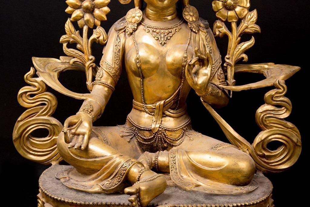 Rare Ming Imperial Gilt-Bronze Figure of Green Tara - 6