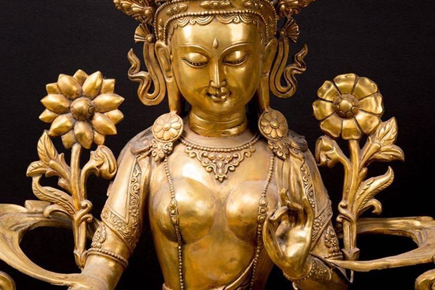 Rare Ming Imperial Gilt-Bronze Figure of Green Tara - 8