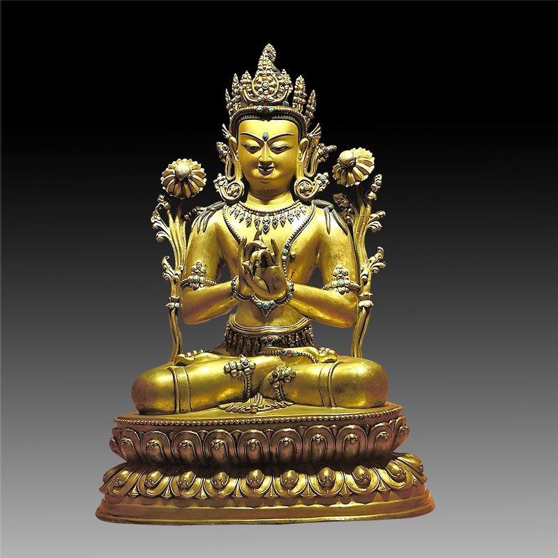 Large Chinese Qing Dynasty Gilt Bronze Figure of Buddha