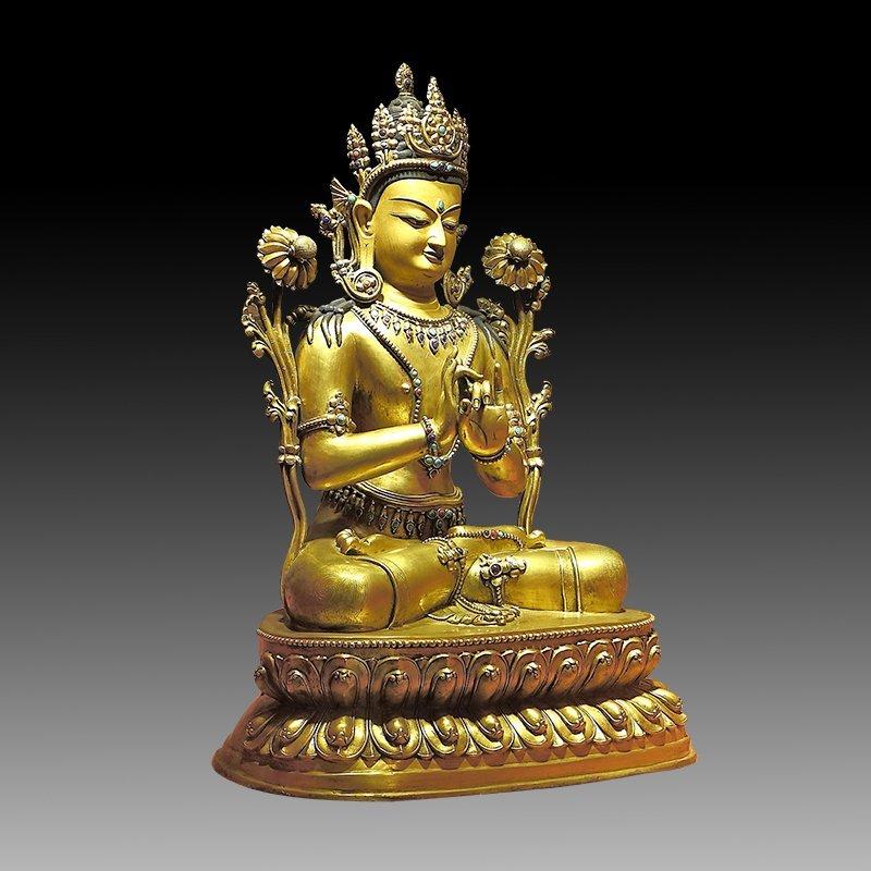 Large Chinese Qing Dynasty Gilt Bronze Figure of Buddha - 3