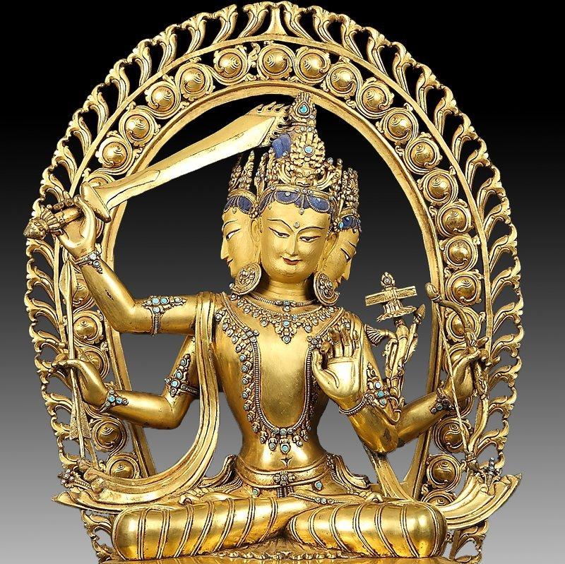 Large Chinese Gilt Bronze Figure of Buddha - 10
