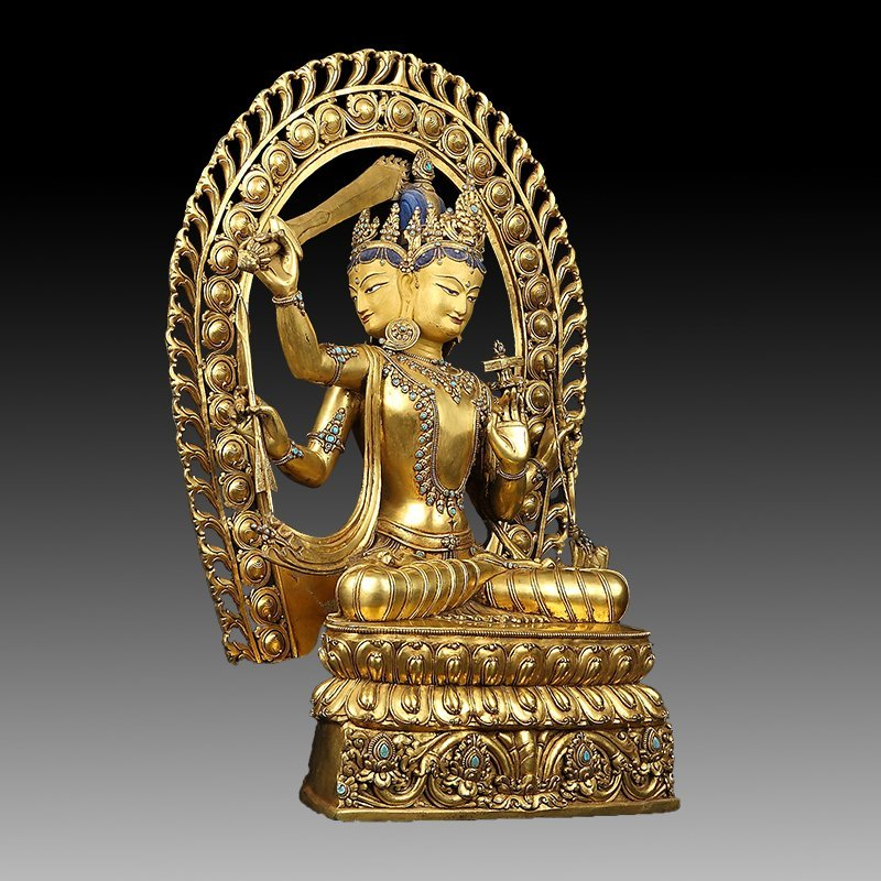 Large Chinese Gilt Bronze Figure of Buddha - 12