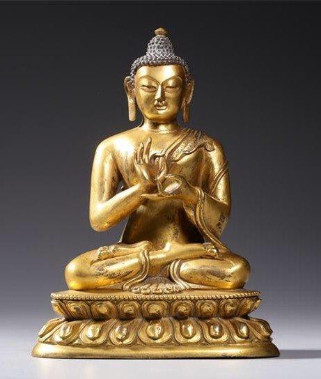 Chinese Chinese Gilt Bronze Figure of Buddha