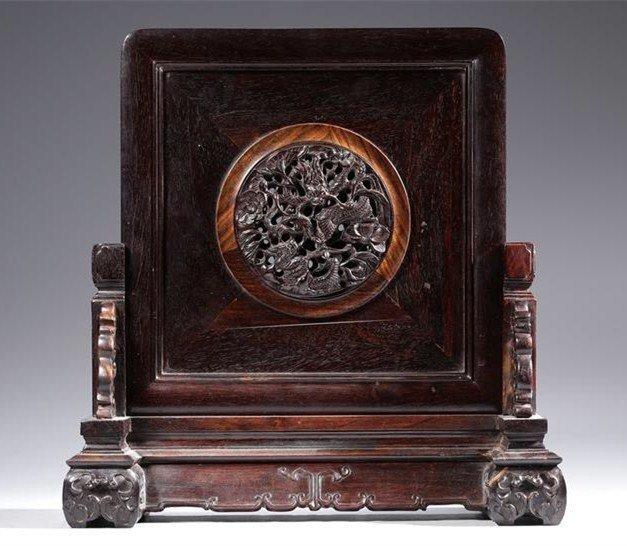 Chinese Zitan  Wood Carving Screen