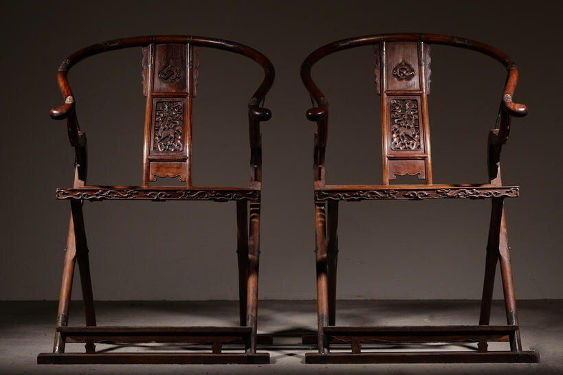 Pair of Chinese Huanghuali Folding Chairs