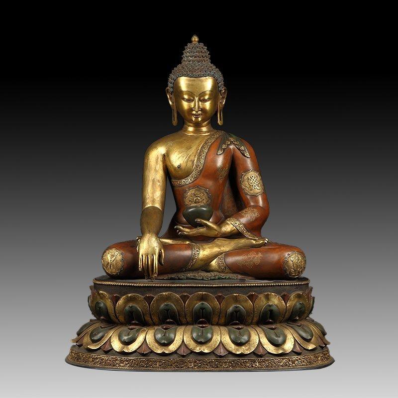 Large Chinese Gilt Bronze Buddha