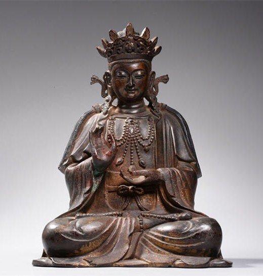 Chinese Qing-Style Gilt Bronze Bodhisattva