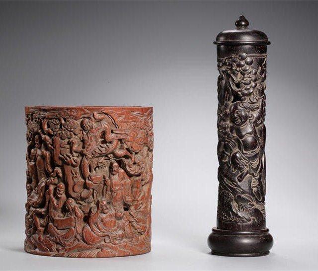 Chinese Qing Dynasty Zitan and Bamboo Brush Pot