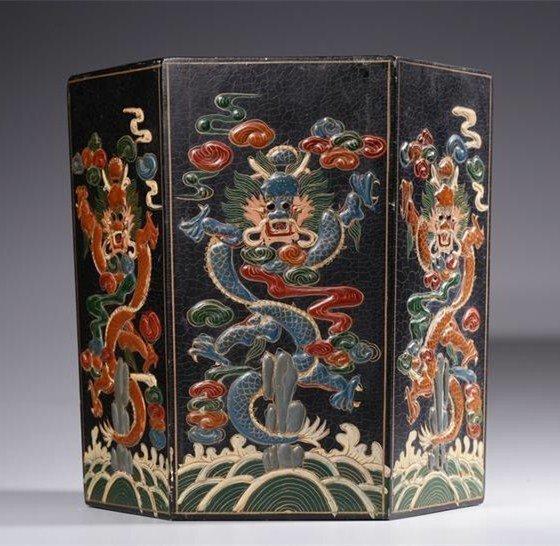 Chinese Qing Dynasty Wood dragon Brush Pot