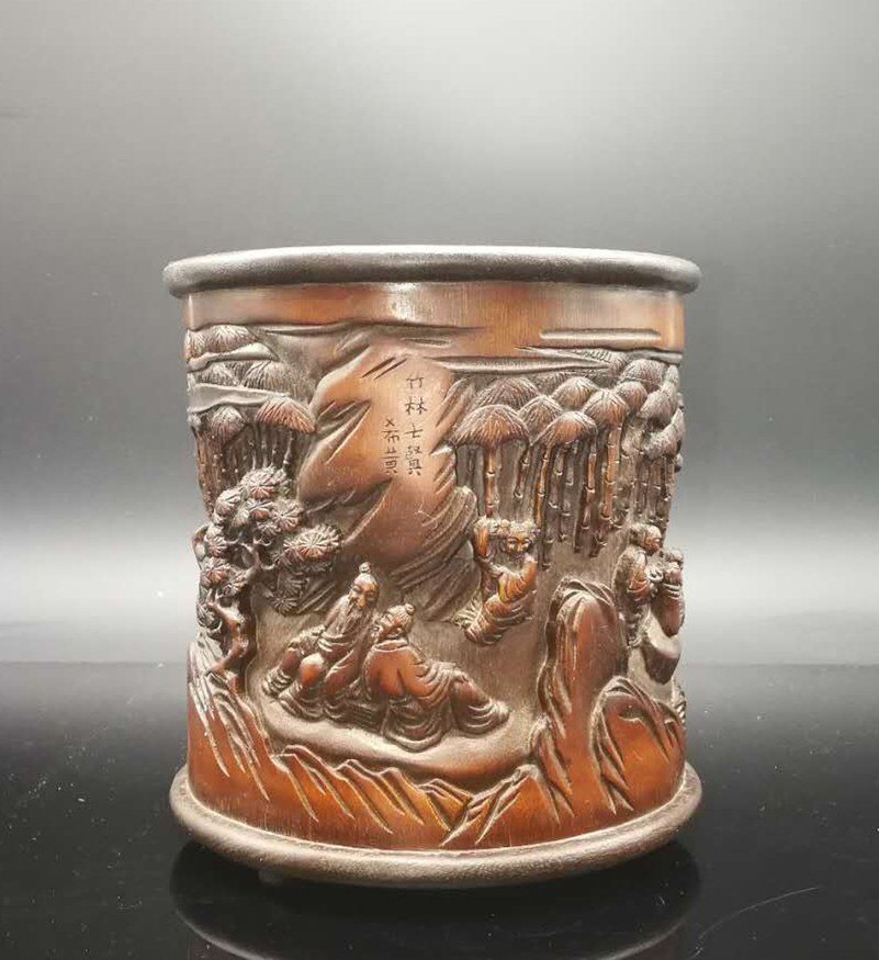 Chinese Qing Dynasty Bamboo Brush Pot