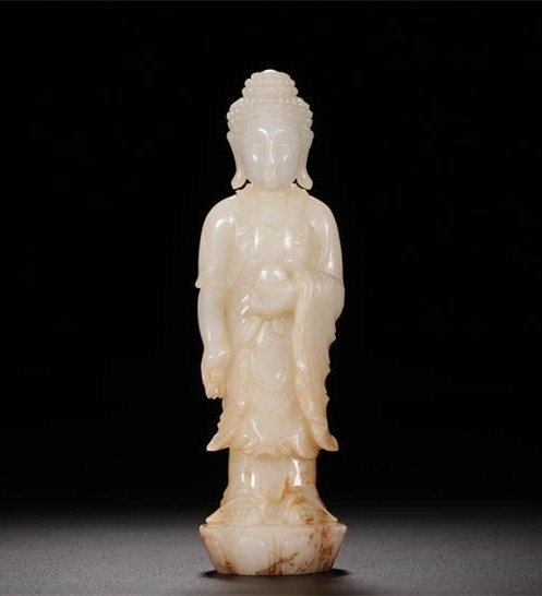 Chinese Qing Carved  Jade Standing Buddha