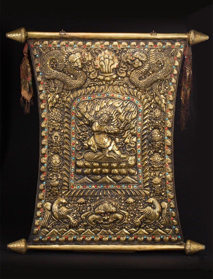 19th Cen Tibetan Gilt Bronze Buddha Plaque