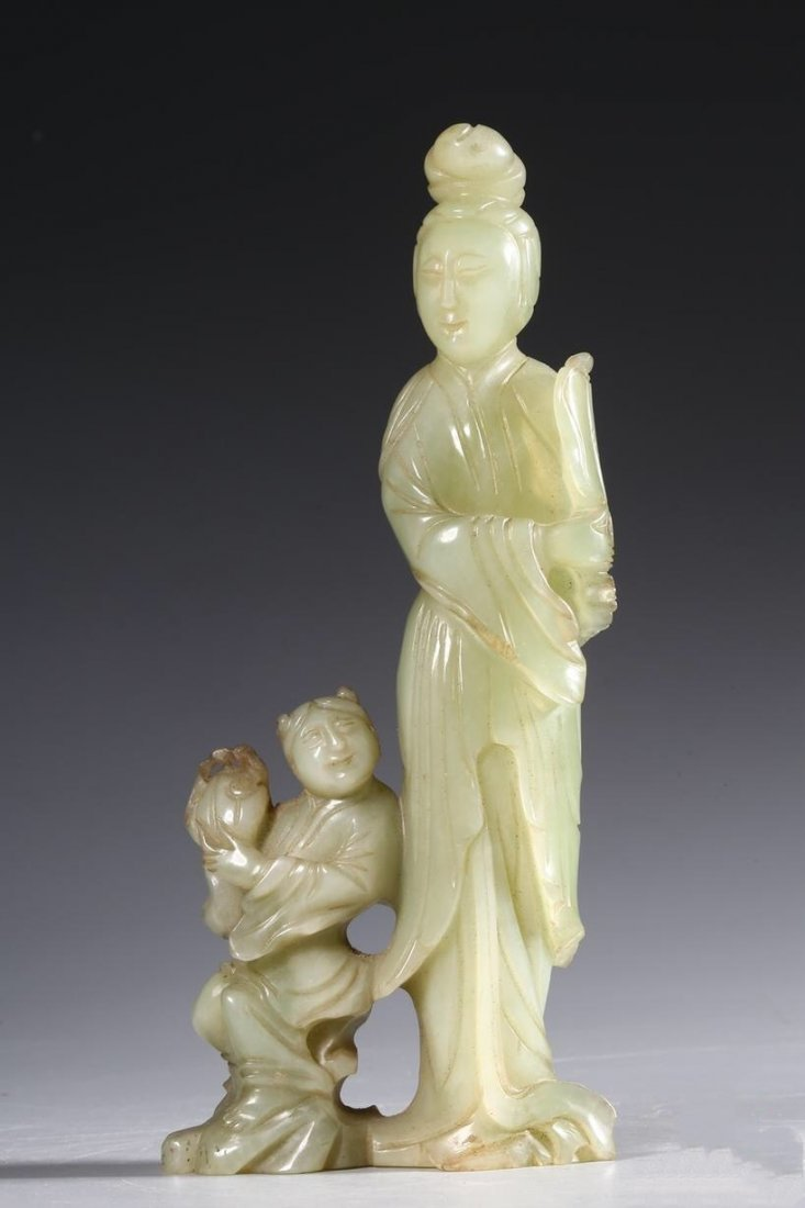 Chinese Qing Carved  Jade Standing Women and children