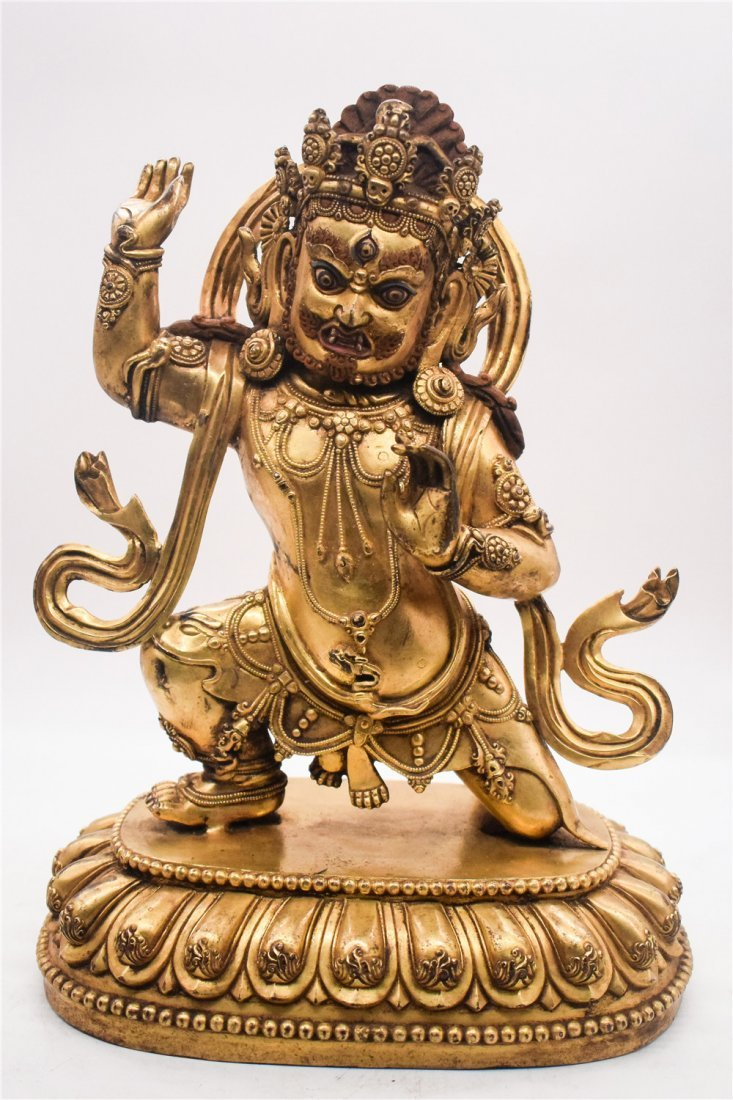 GILT BRONZE CAST VAJRAPANI FIGURE