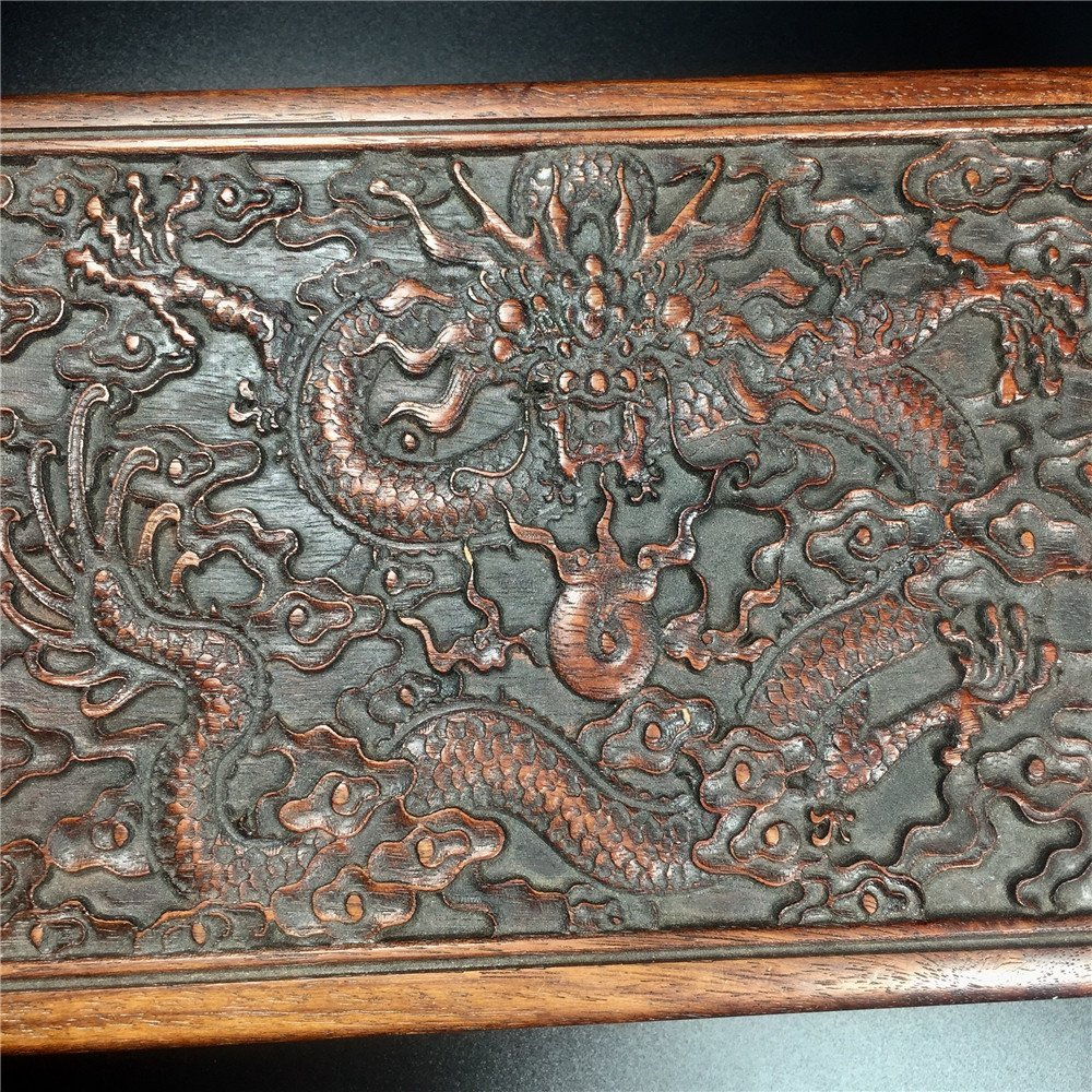 CHINESE CARVED HUALI WOODEN DRAGON BOX - 5