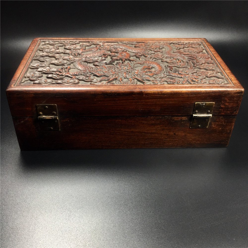 CHINESE CARVED HUALI WOODEN DRAGON BOX - 6
