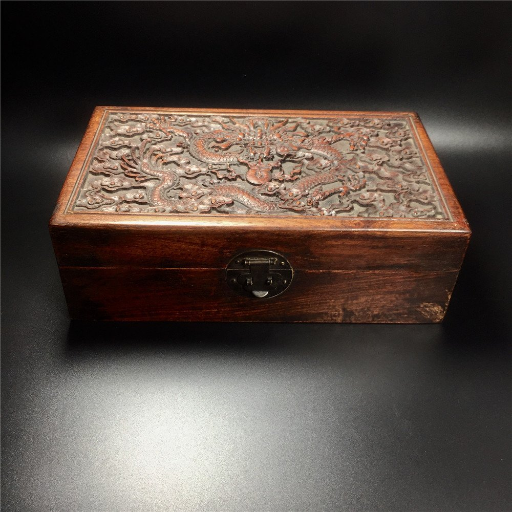 CHINESE CARVED HUALI WOODEN DRAGON BOX - 7