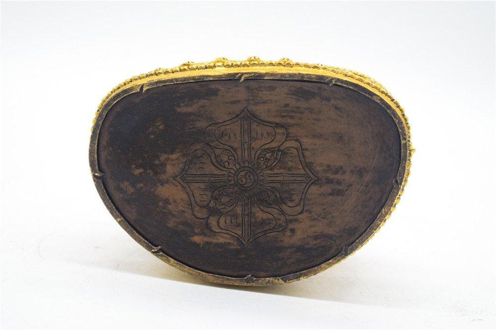 GILT BRONZE CAST MANJUSHRI SEATED FIGURE - 4