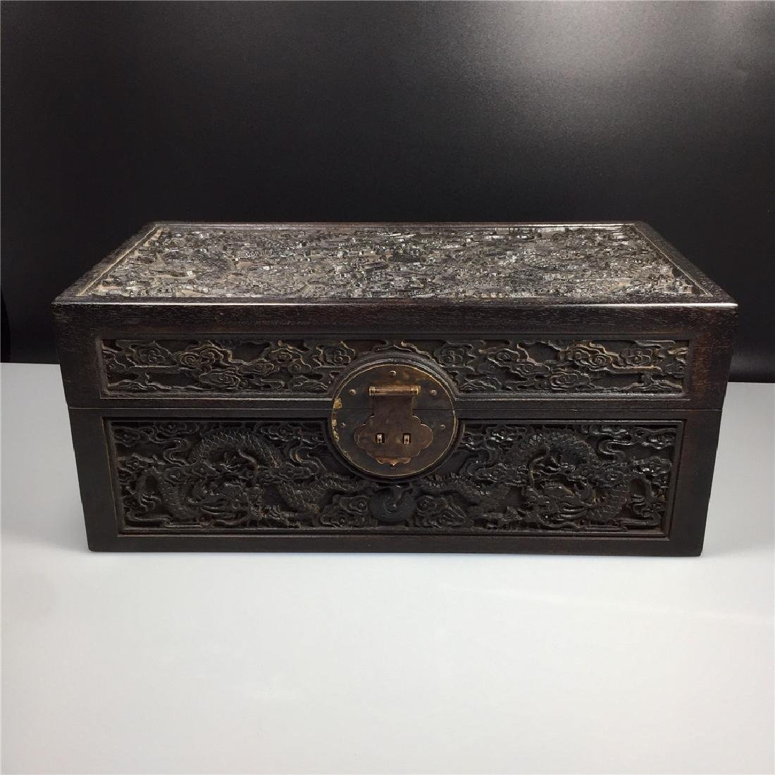 CHINESE CARVED HARDWOOD BOX
