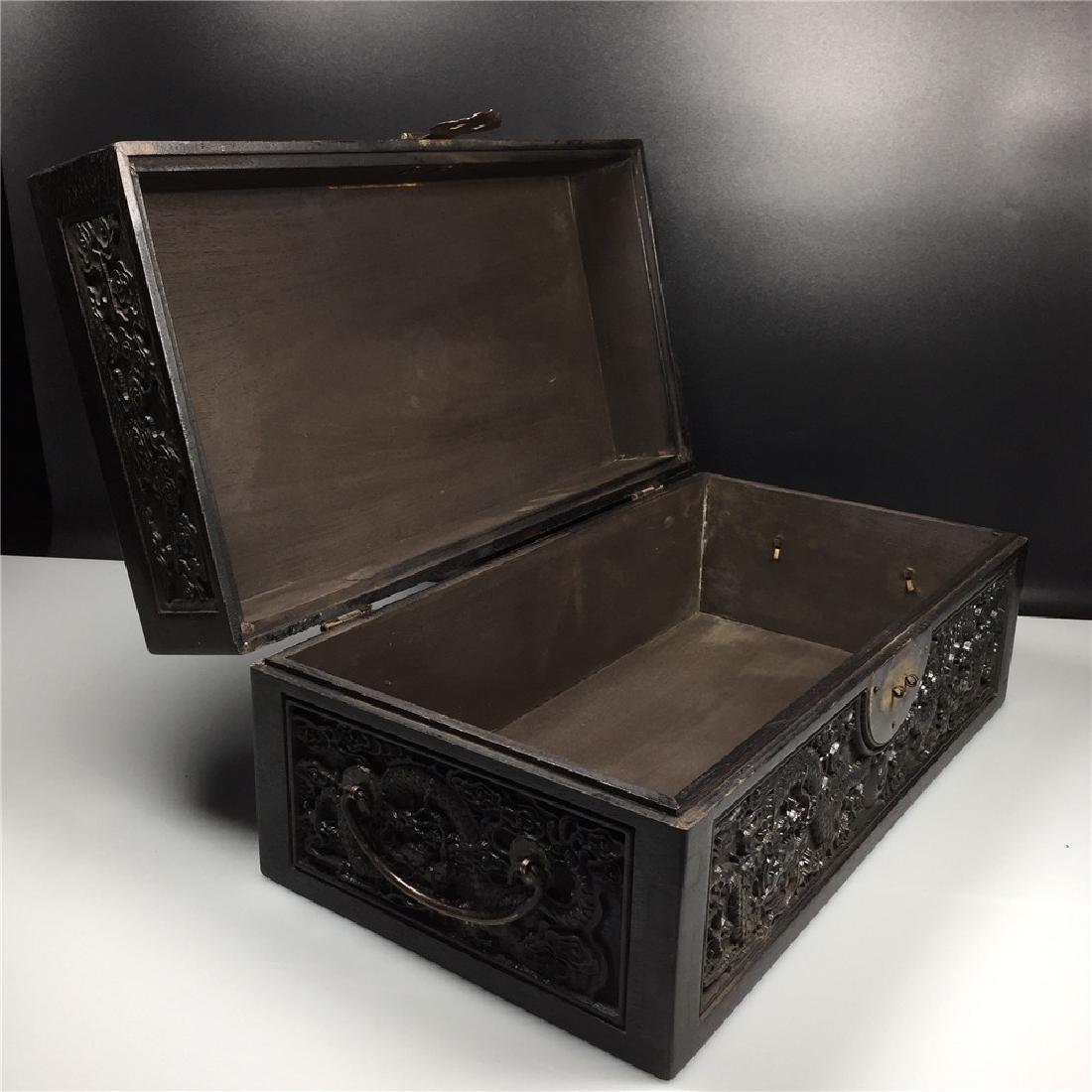 CHINESE CARVED HARDWOOD BOX - 3