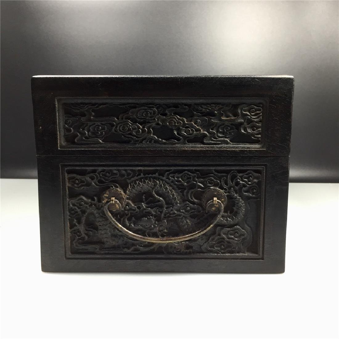 CHINESE CARVED HARDWOOD BOX - 4