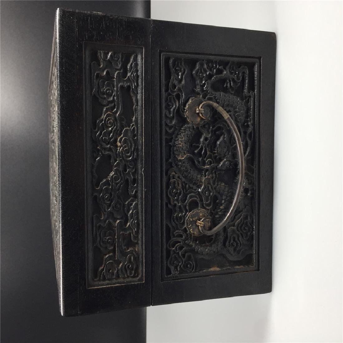 CHINESE CARVED HARDWOOD BOX - 6