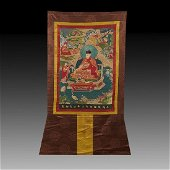 Chinese Qing Dynasty painted brocade mounts silk Thangk
