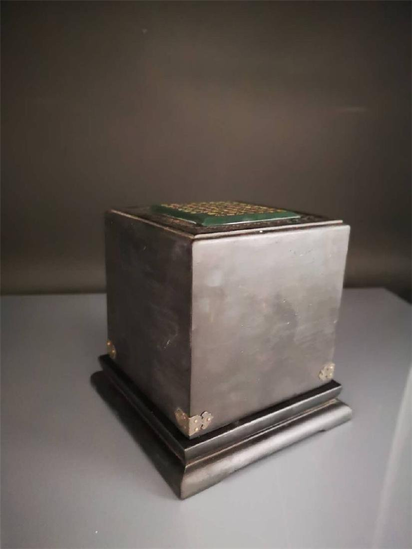 Chinese Superb Qing Hetian Jade Seal and Box - 9
