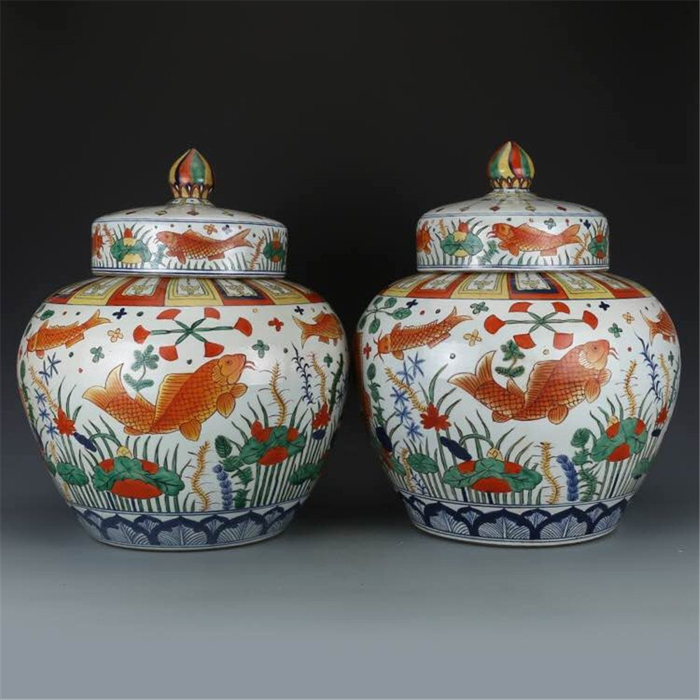 Pair of Large Chinese Wucai Porcelain Ginger Jars