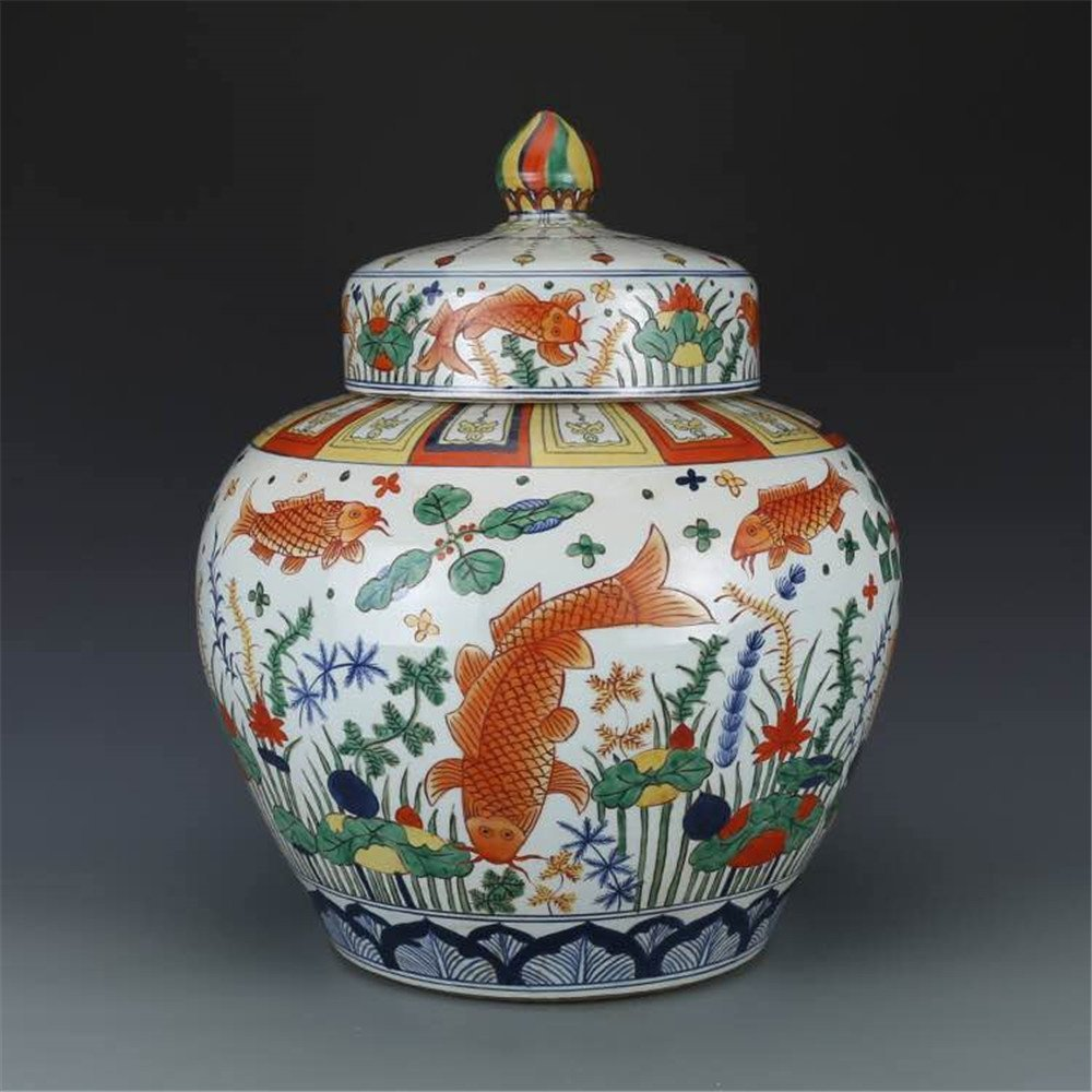 Pair of Large Chinese Wucai Porcelain Ginger Jars - 5