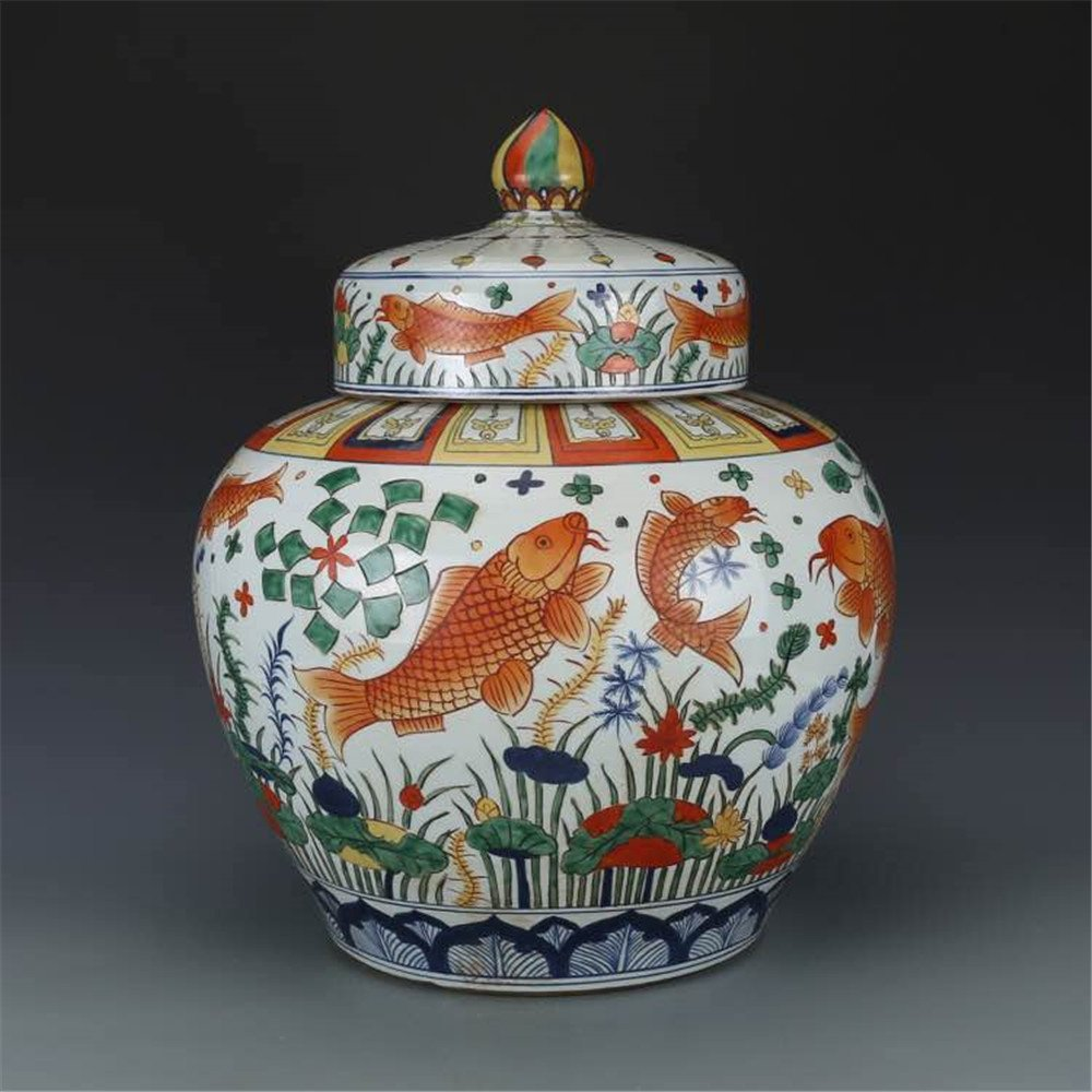 Pair of Large Chinese Wucai Porcelain Ginger Jars - 7