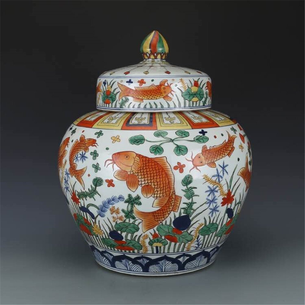 Pair of Large Chinese Wucai Porcelain Ginger Jars - 8