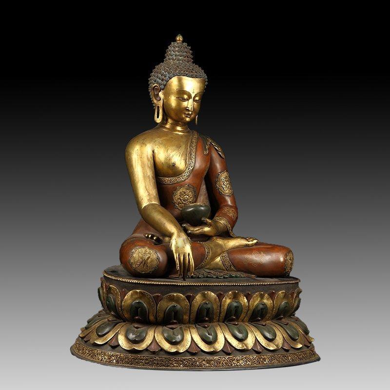 Chinese Gilt Bronze Manjushiri Buddha - 4