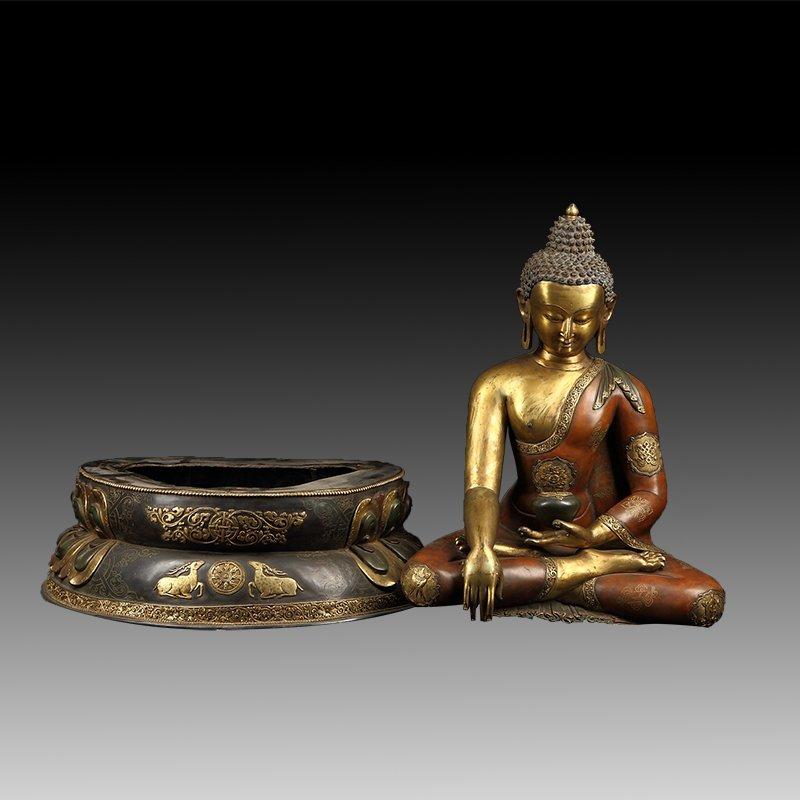 Chinese Gilt Bronze Manjushiri Buddha - 7
