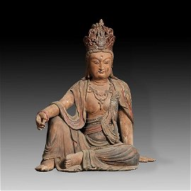 Chinese Tang Dynasty Wood Polychrome Guanyin