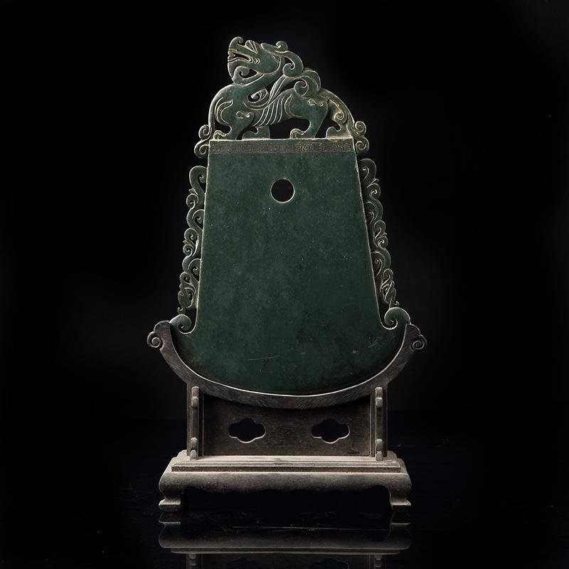 Chinese Hetian Jade Screen With Hardwood Frame