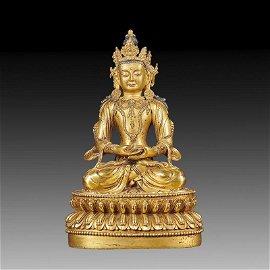 Chinese Qing Bronze Buddha Figure
