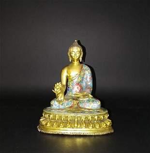 Chinese Cloisonne Buddha Statue
