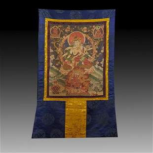 Chinese Qing Dynasty Silk Embroidery Thangka