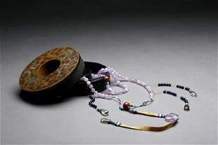 Chinese Amethyst Court Necklace