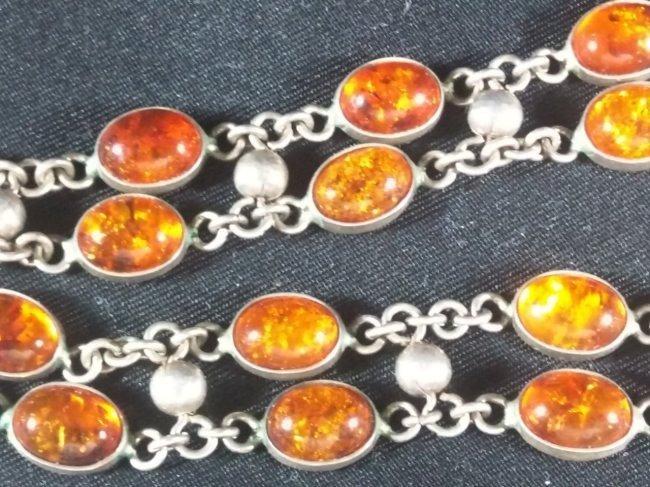 Vintage sterling silver amber necklance - 2