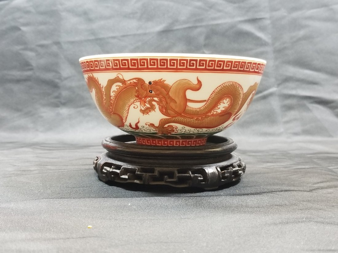 Red copper Painted Chinese dragon bowl