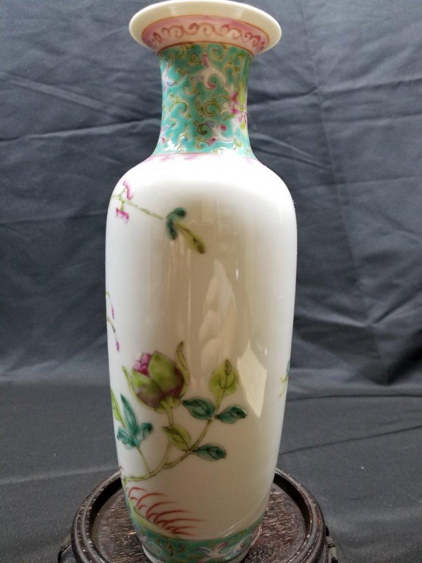 Vintage Chinese famille rose porcelain vase - 4