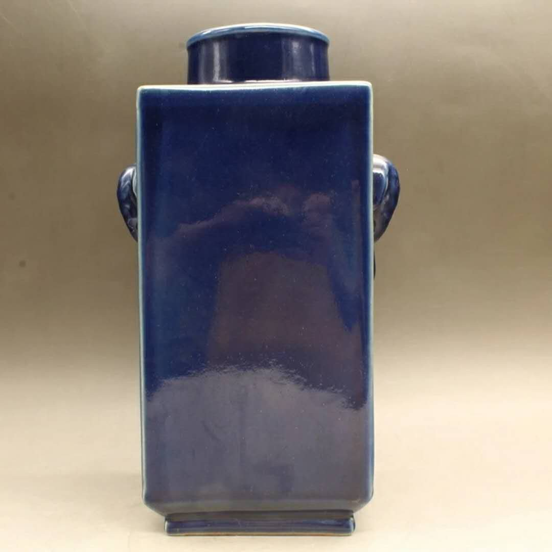 A blue glazed porcelain vase