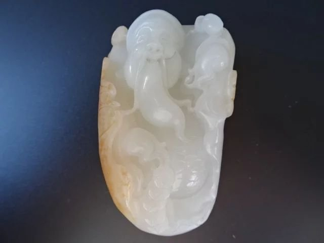A carved Chinese white  jade