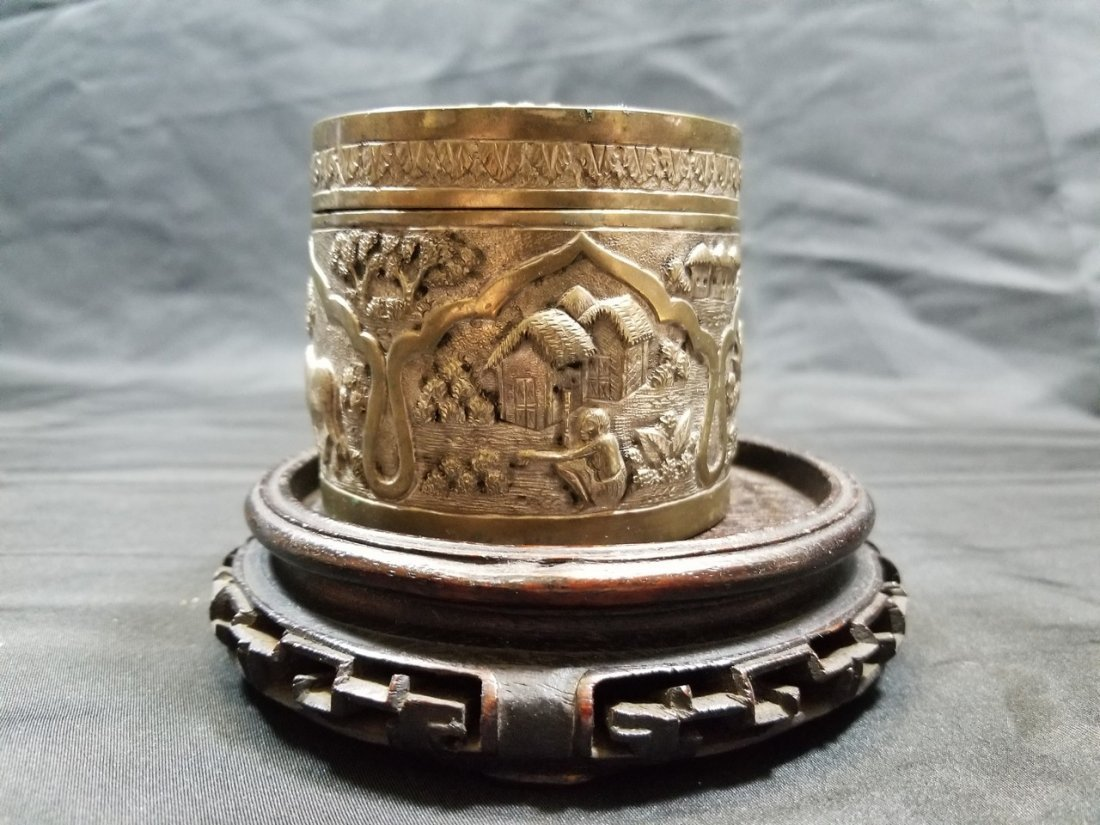 Vintage hand carved silver box