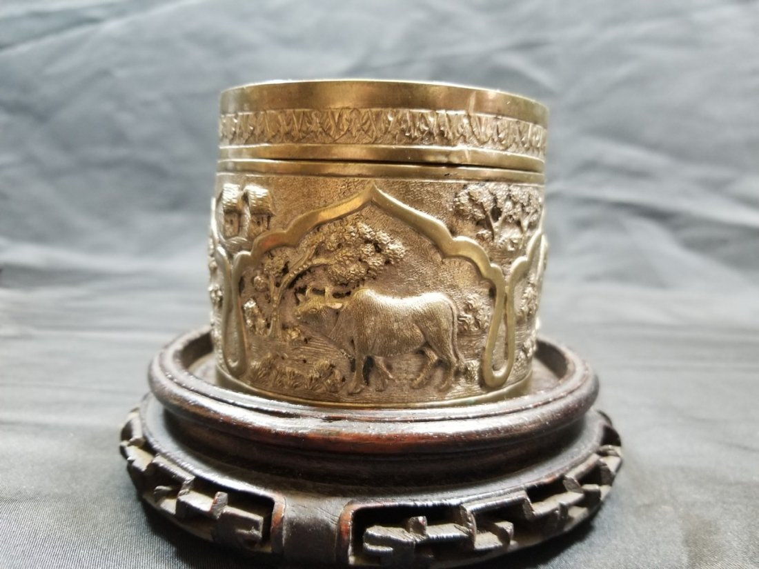 Vintage hand carved silver box - 3