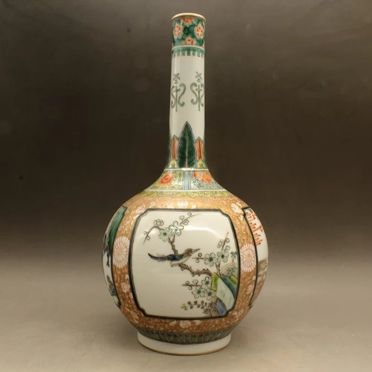 kangxi mark Chinese famille rose porcelain vase